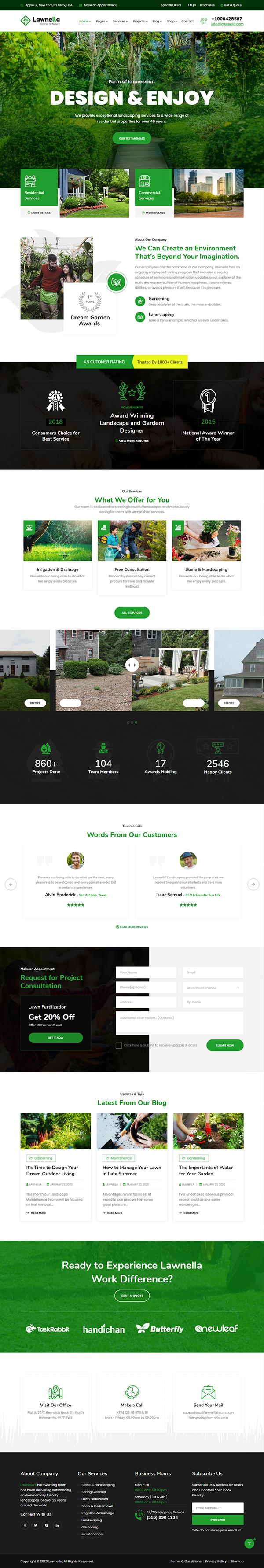 Lawnella - Gardening & Landscaping WordPress Theme