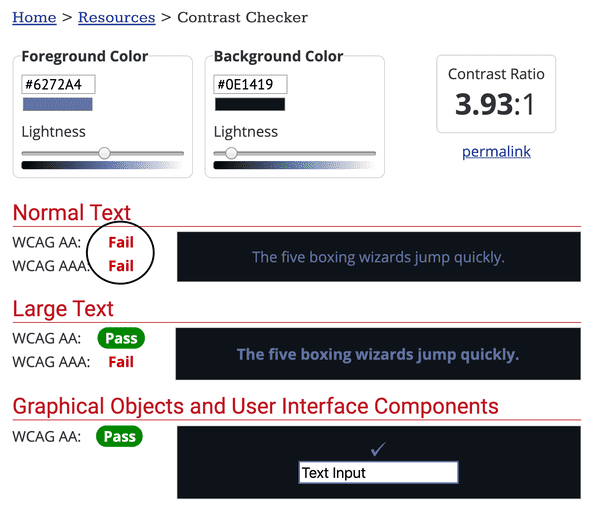 Color Contrast Checker from webaim testing out the comment foreground color hex #6272A4 and the background color #0E1419. The color contrast is failing all but large text with a contrast of 3.93:1.