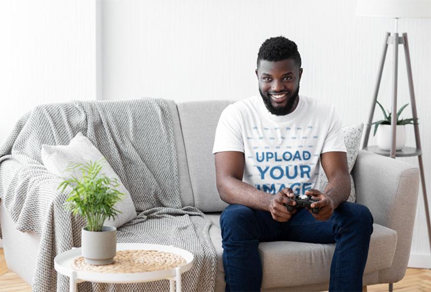 T-Shirt Mockup of a Man Playing Video Games