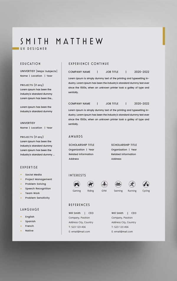 free 2 pages cv resume template   cover letter  psd