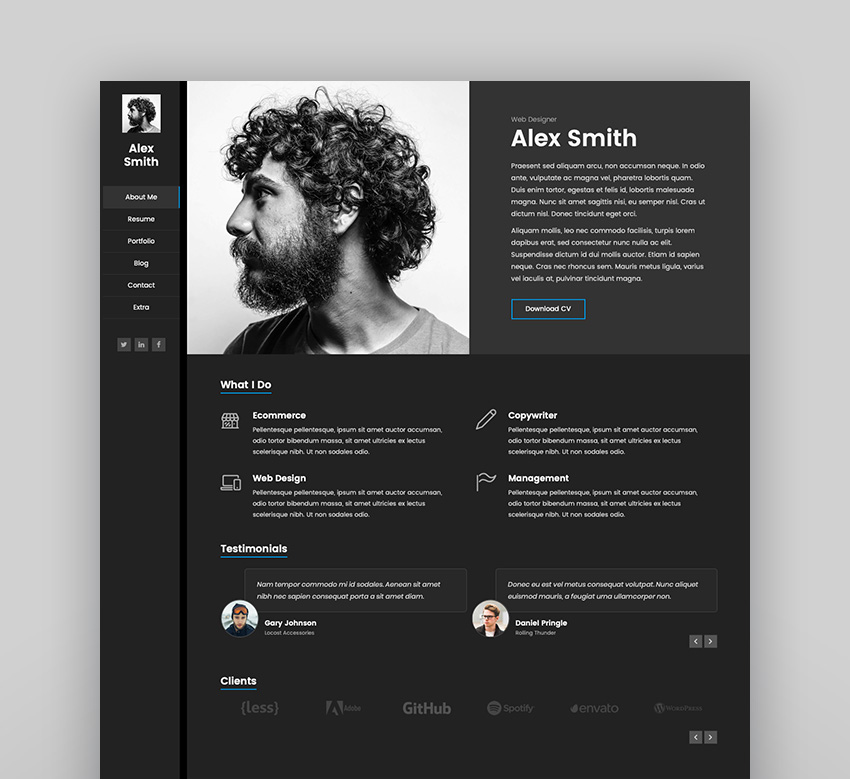 Kerge vCard WordPress Theme