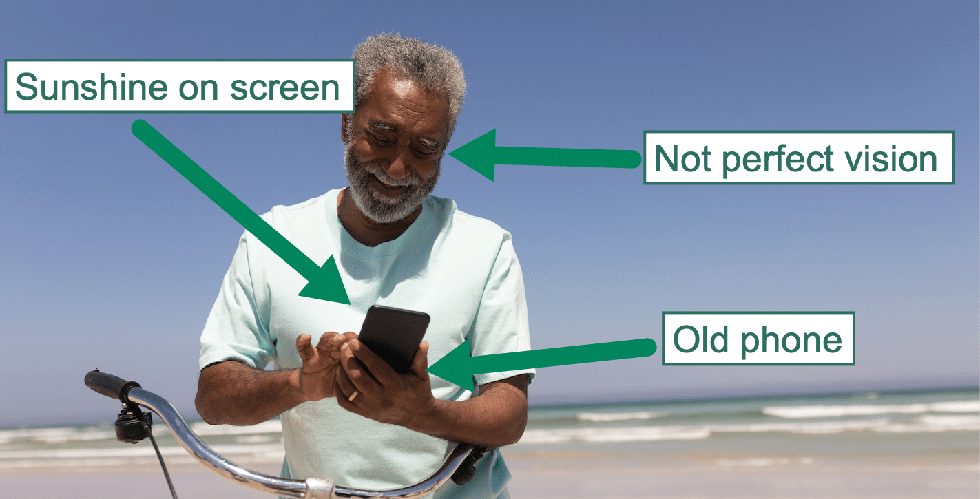 "Older person using a smartphone in the sun. Text: ""Not perfect vision"", ""sunshine on screen"" and ""old phone""."