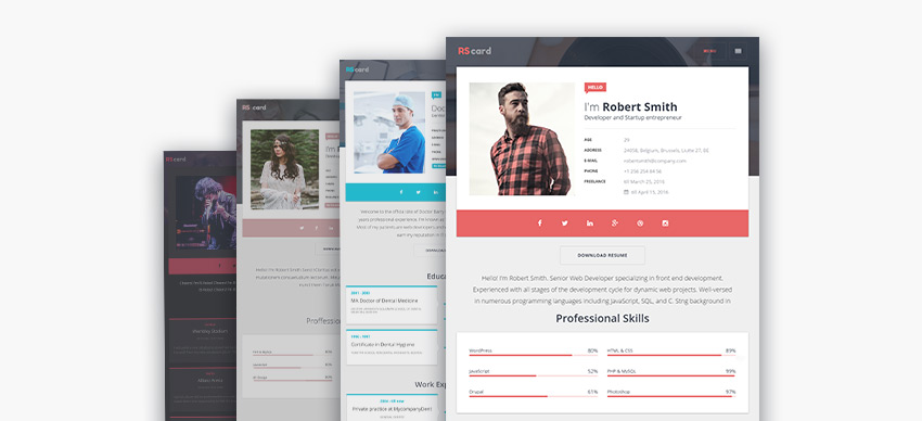 Multiple personal resume WordPress theme design options