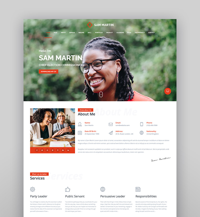 Sam Martin - Personal vCard ResumeCV WordPress Theme