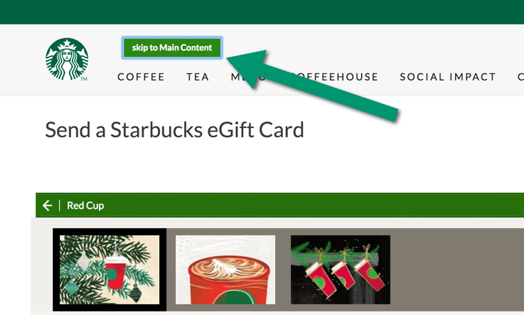 Skip to content link on Starbuck's site.