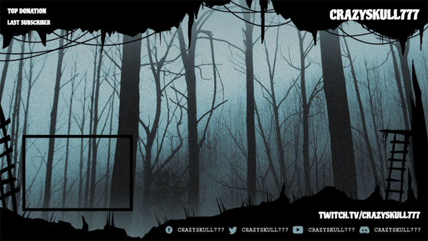 Haunting Twitch Overlay Template with Web Frame