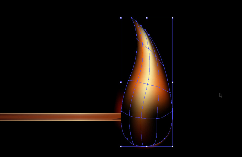 color the flame with gradient mesh