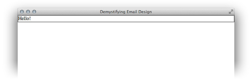 Our first HTML email layout section