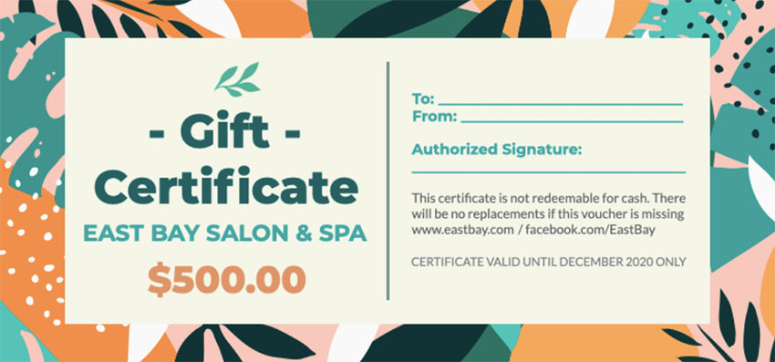 Gift Certificate Template with Colourful Background
