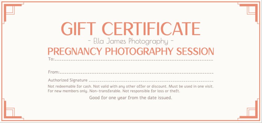 Gift Certificate Template for Photography Session