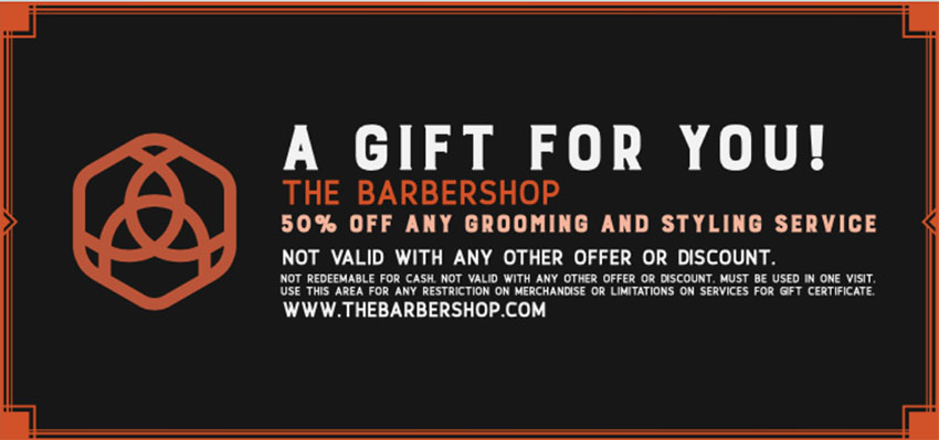 Gift Certificate Template for Barbershop