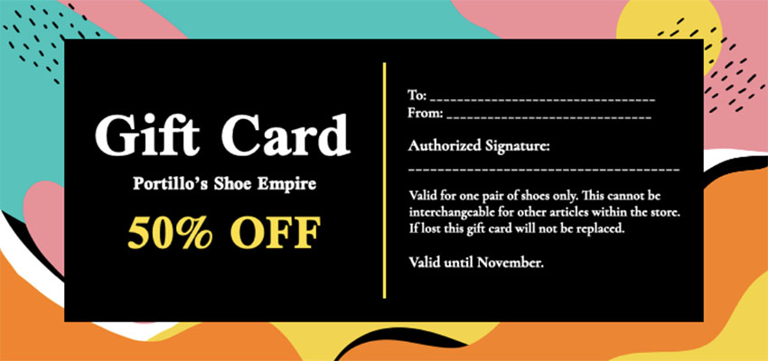 Gift Certificate Template for Price Discount