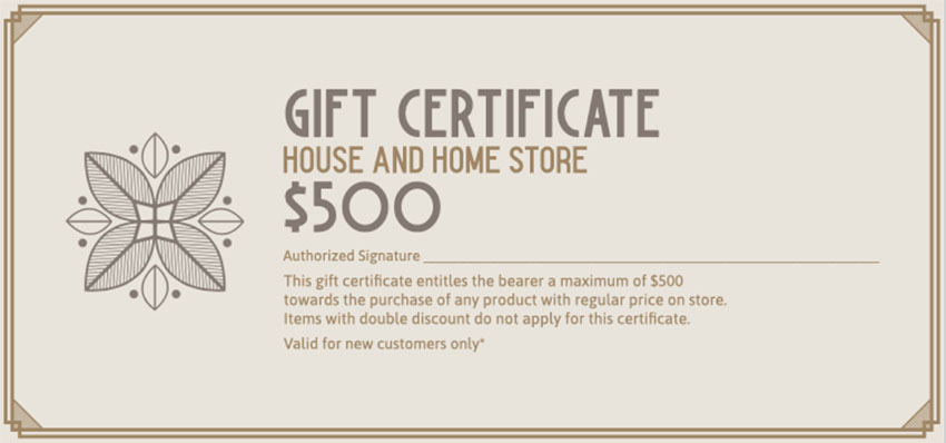 Gift Certificate Template for Home Store