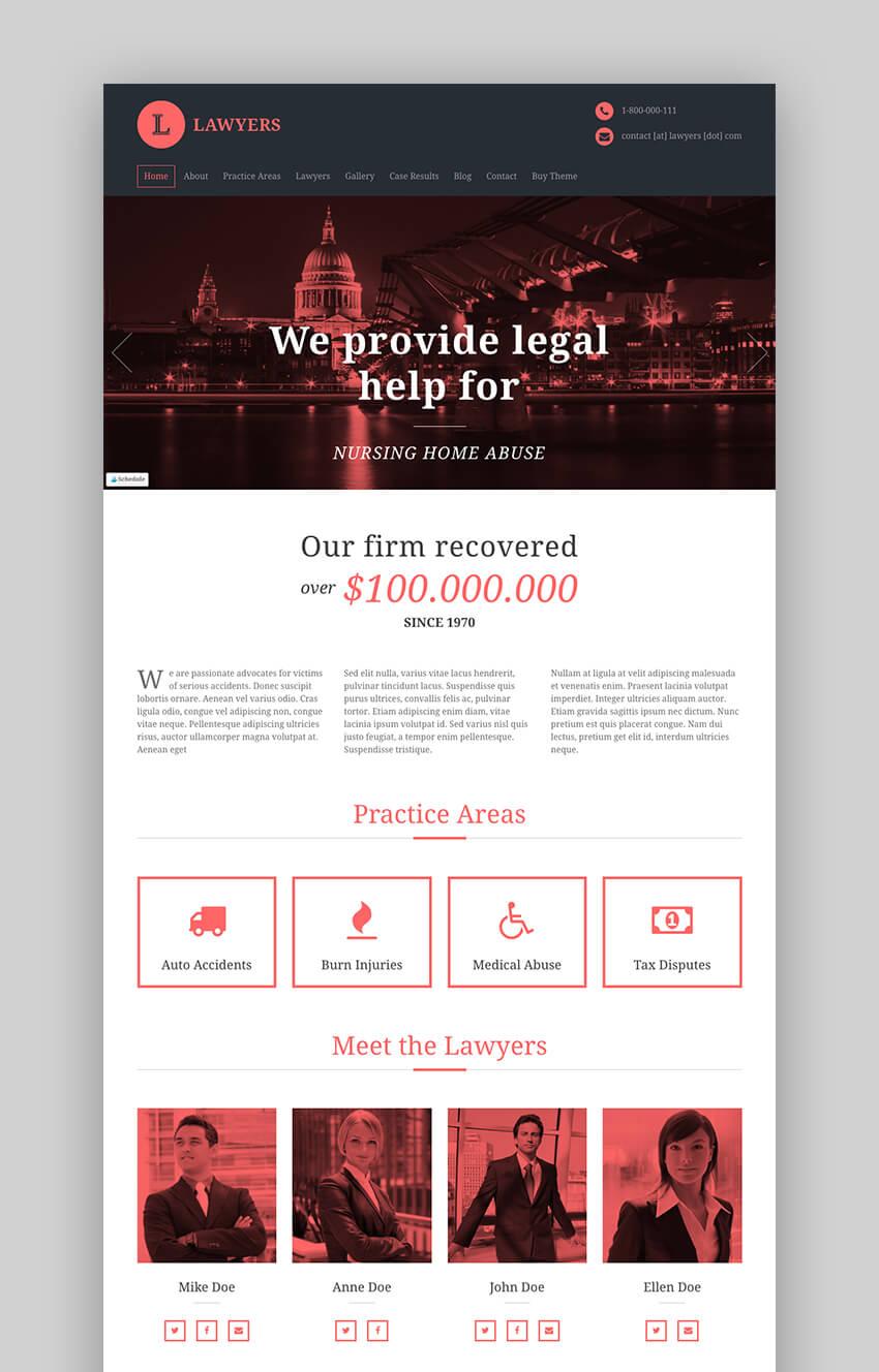 Lawyers business WordPress legal theme