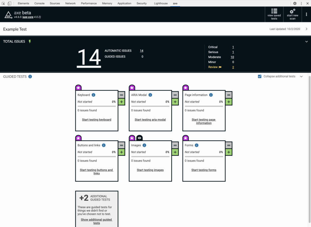 Screenshot of new Intelligent Guided Tests in refreshed axe extension UI