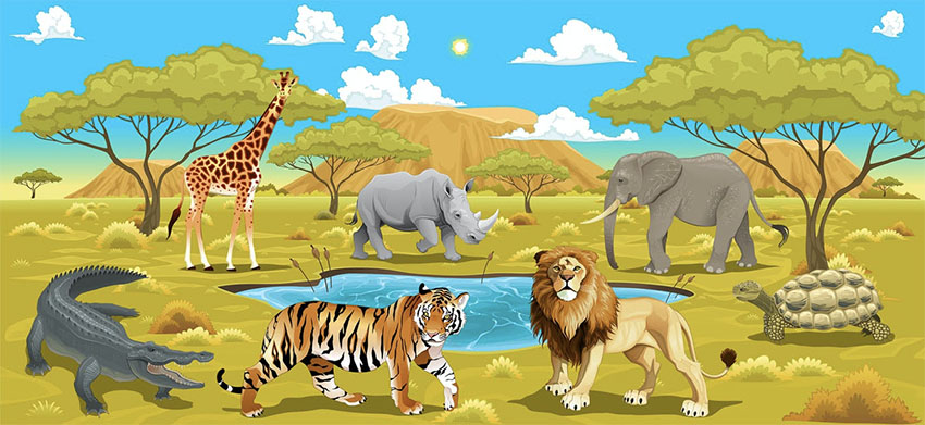 African Landscape with Wild Animals Illustrations