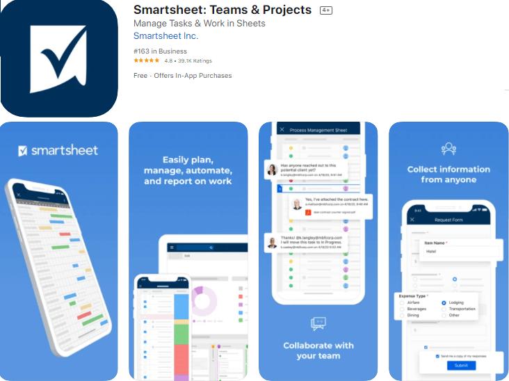 smartsheet best apps for ios