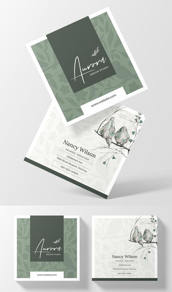 Minimal Square Business Card Design