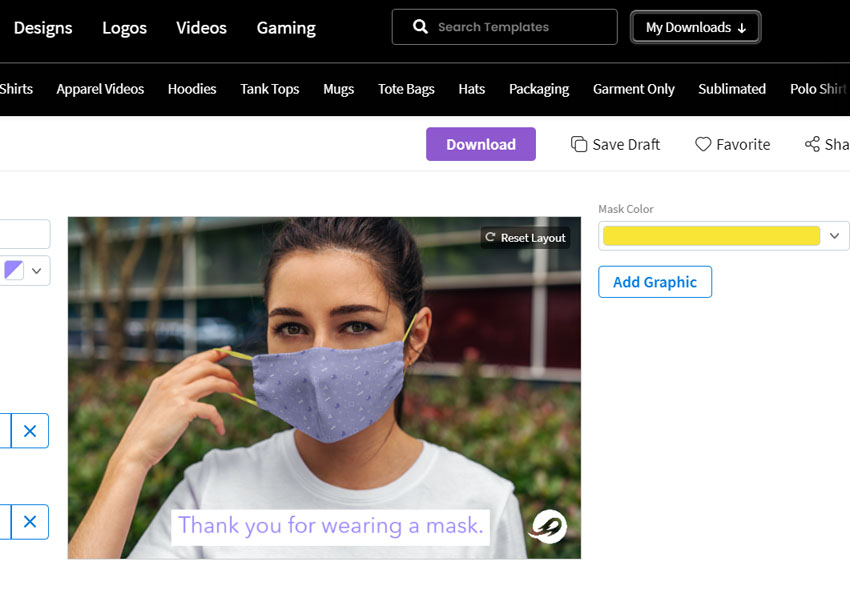 download face mask design mockup