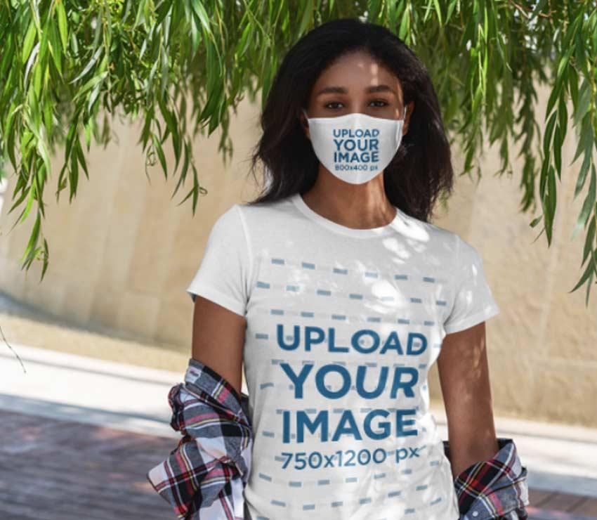 Face Mask Mockup with T-Shirt Mockup