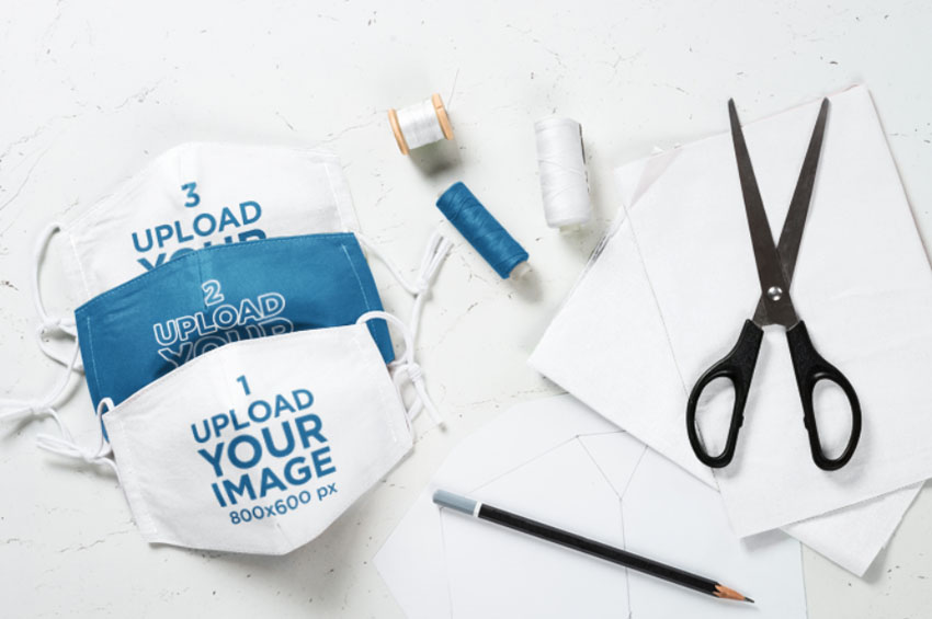 Multiple Face Mask Mockup with DIY Supplies