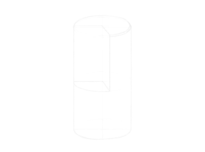 how to draw a cylinder without a part