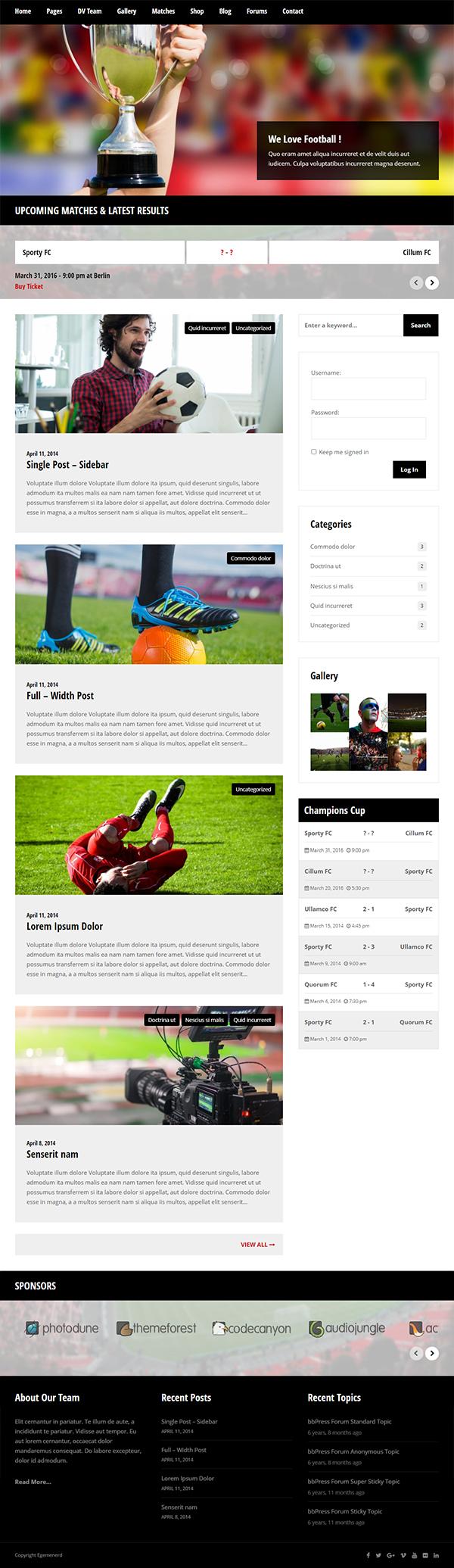 Sporty Responsive WordPress Theme for Sport Clubs