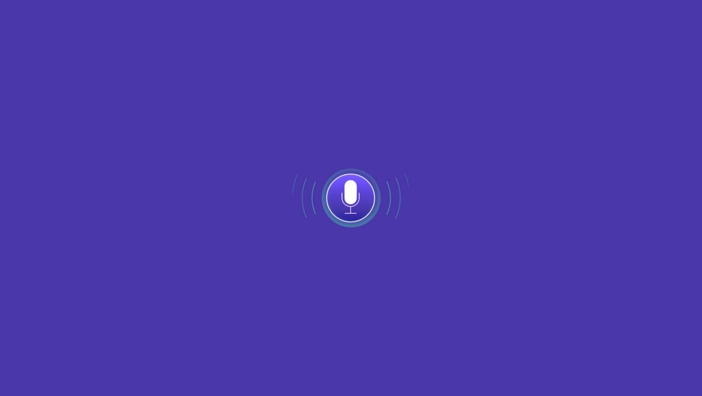 A microphone icon signifying Voice Use Interface design on an indigo background.