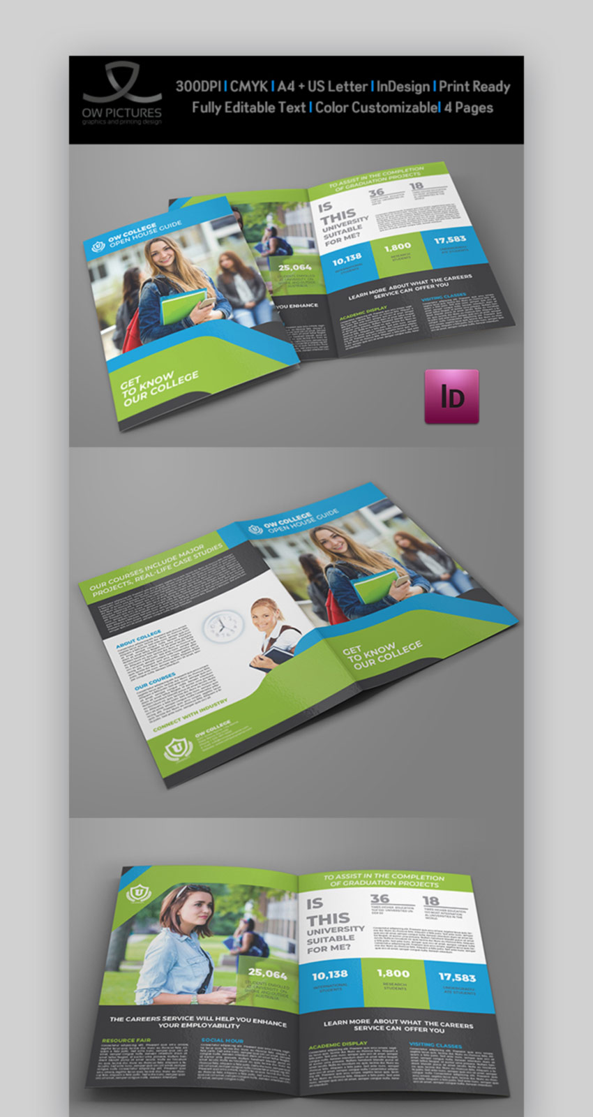 College Open House Bi-Fold Brochure Template
