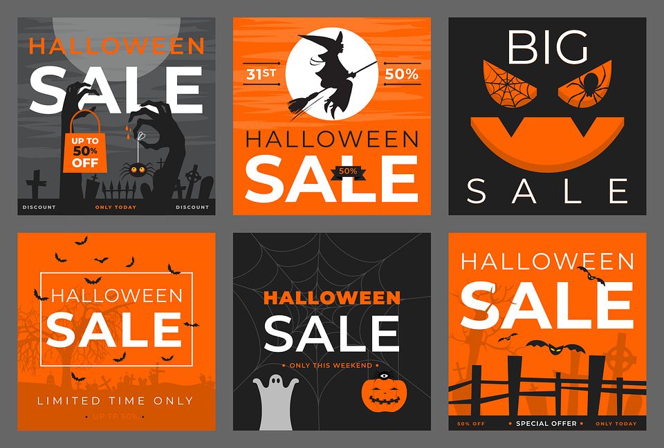 Halloween, Sale, Poster, Discount, Holiday, Retail