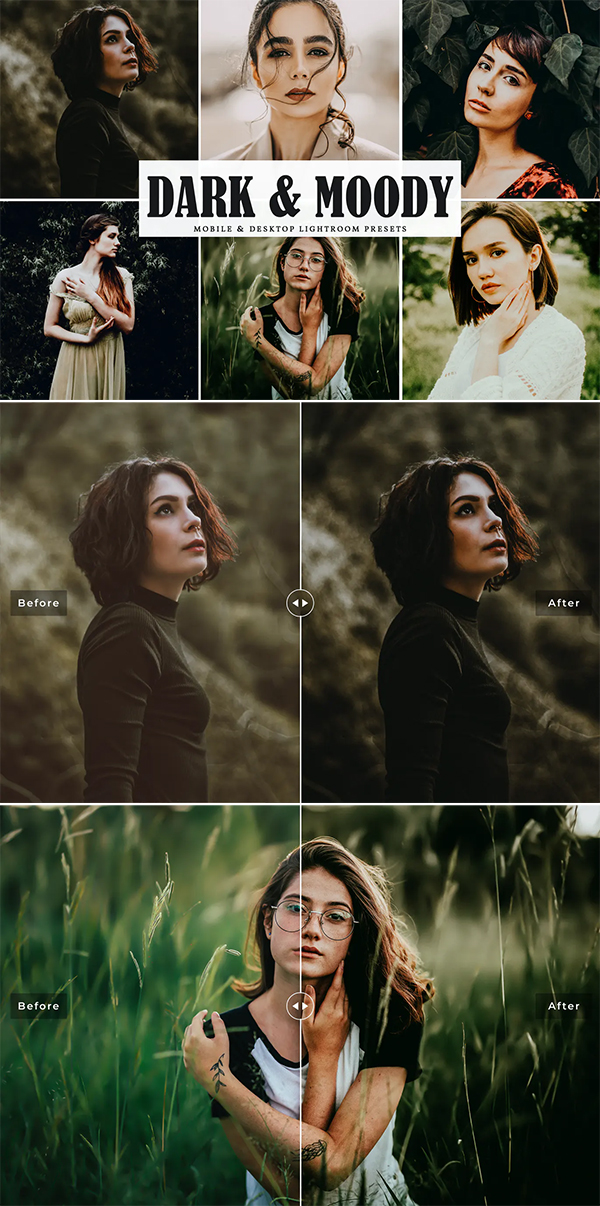 Dark & Moody Mobile & Desktop Lightroom Presets