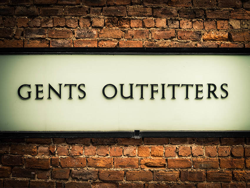 Vintage Gents Outfitters Display Board Font