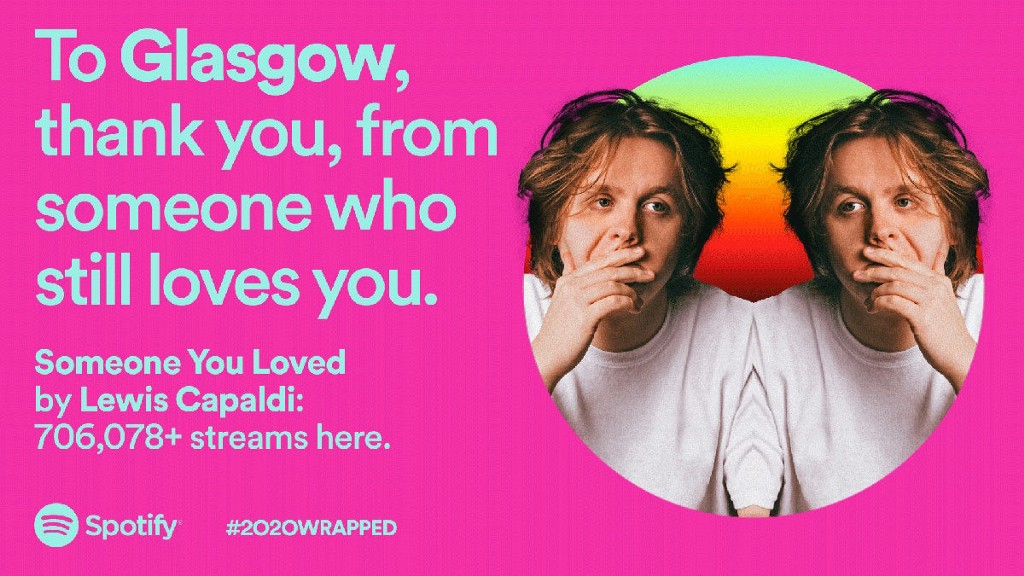 A graphic thanking Glasgow for their listening habbits, set on a pink background