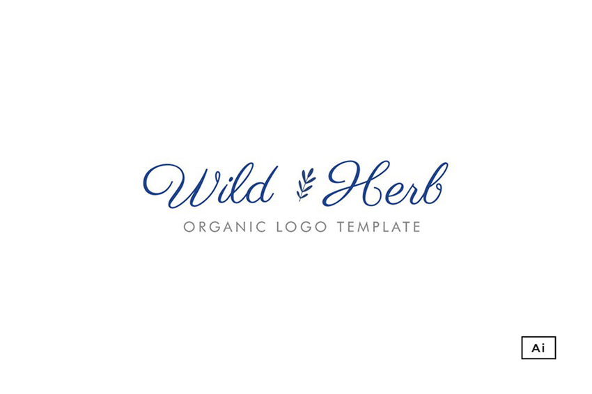 Wild Herb Organic Logo Template with Creative Typography on Envato Elements