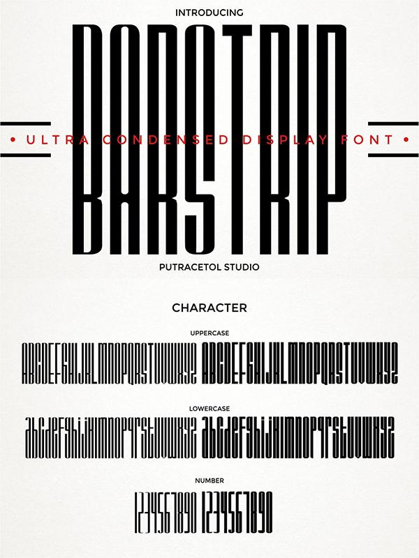BARSTRIP - Ultra Condensed Font
