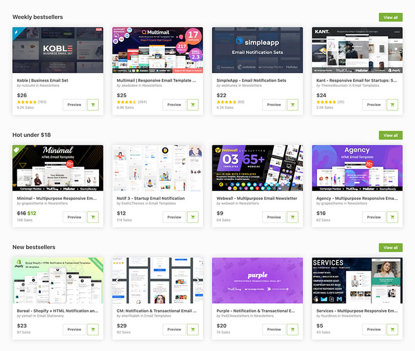 best-selling HTML email templates on Envato Market