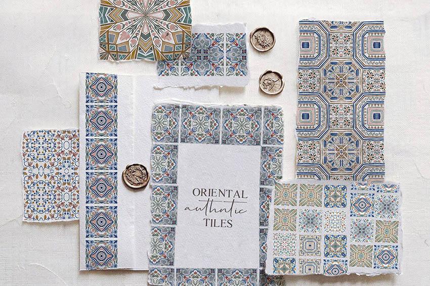 Oriental Tiles Watercolor Digital Scrapbook Paper