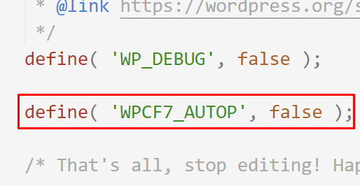 Change the value of the WPCF7_AUTOP to false