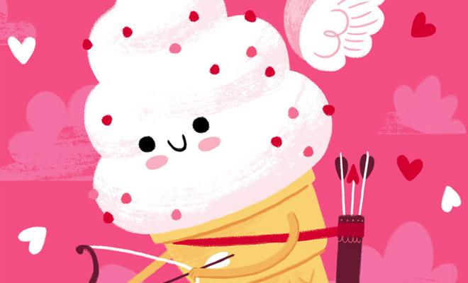 ice cream cupid artwork design valentine
