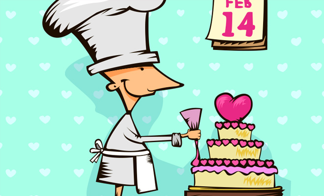 baking a cake valentine sweets chef