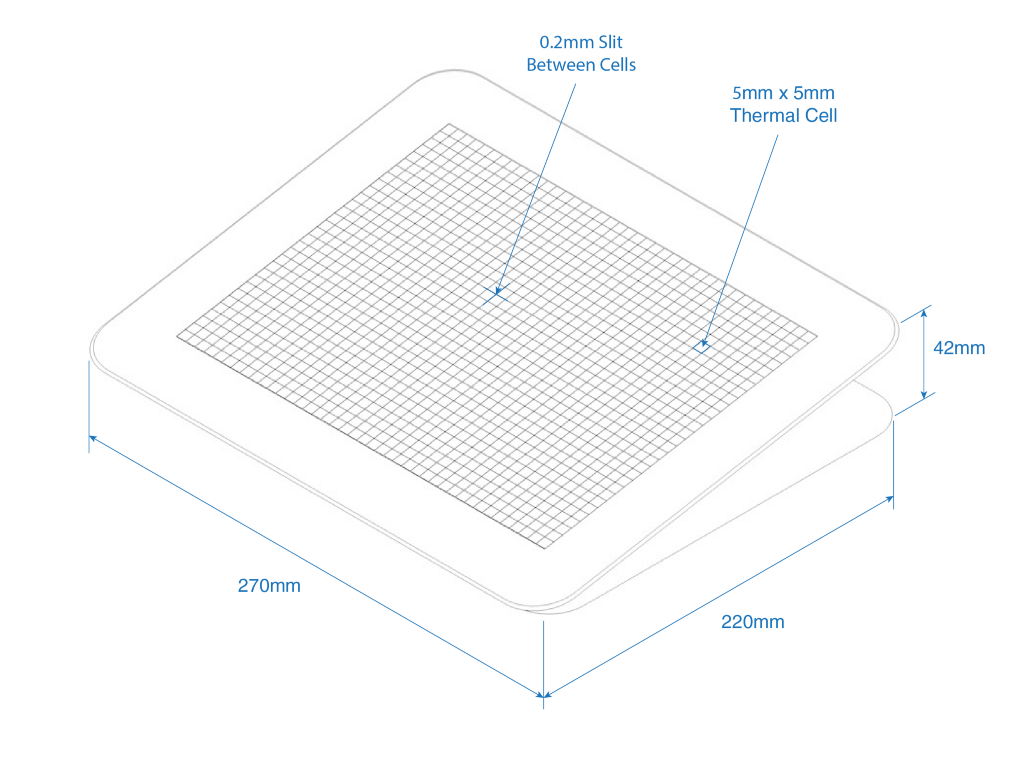 Isometric blueprint of the heated tablet that looks like an iPad.