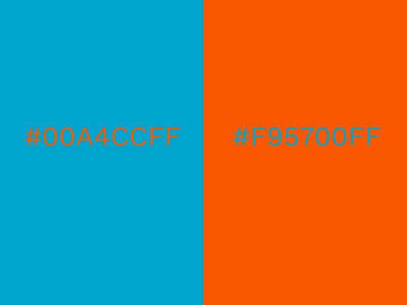 Two color boxes with conflicting colors #00A4CCFF & #F95700FF