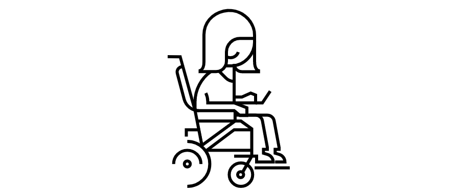 A woman on a wheelchair