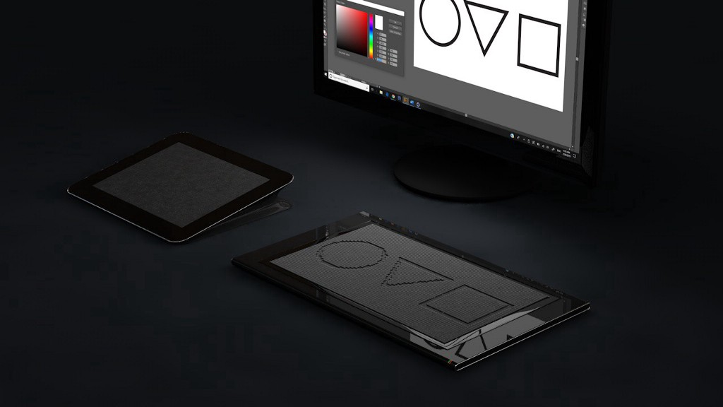 A 3D rendering of the heat pad tablet, tactile display with three indented shapes and a monitor displaying the same shapes.