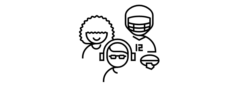 3 different kinds of people, a woman, a football player and a boy with headphones