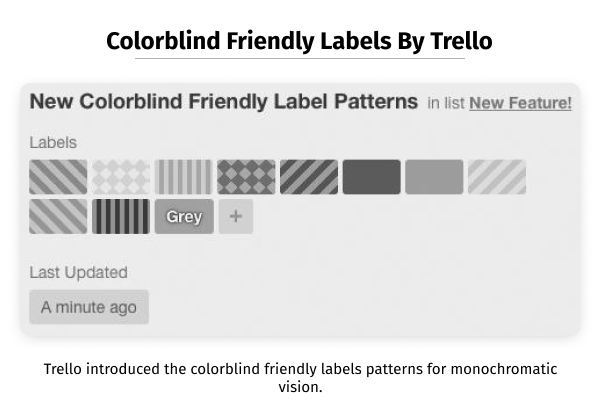 Colorblind friendly label patterns by Trello