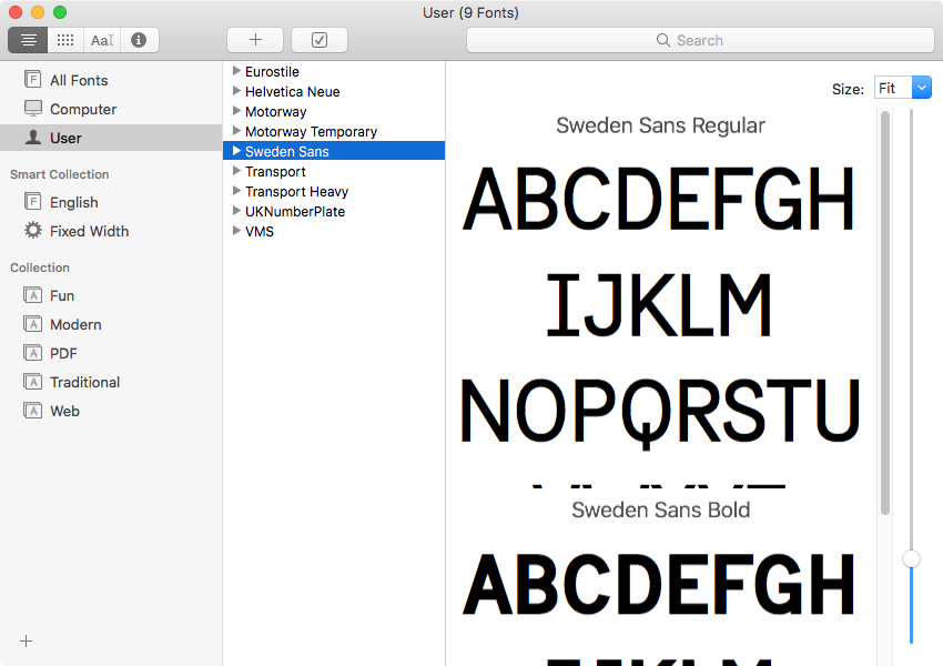 An example of Font Book in macOS