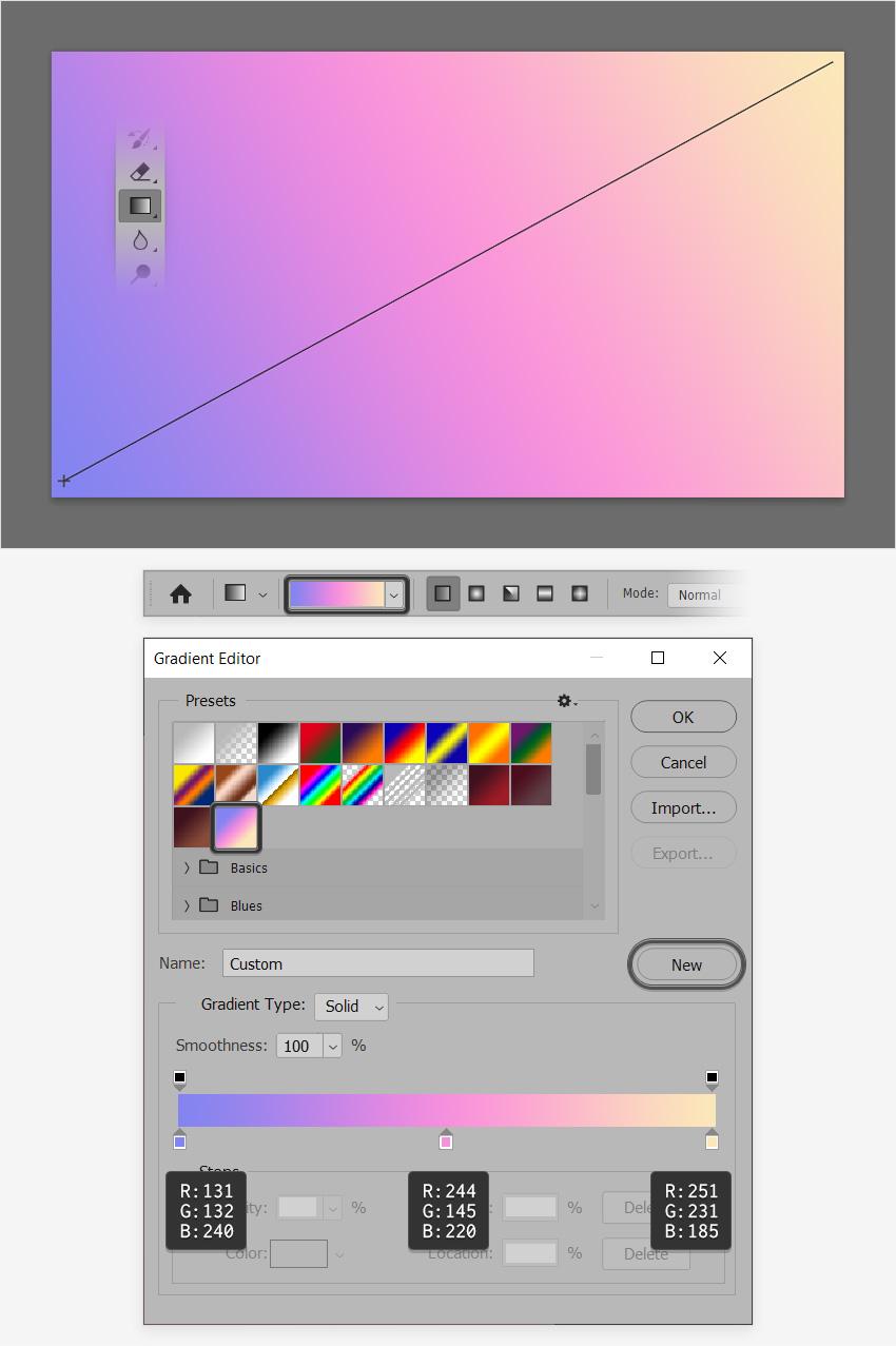 pastel gradient photoshop