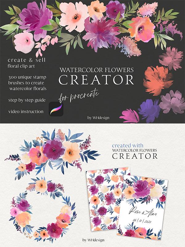 Watercolor Flowers Procreate Creator