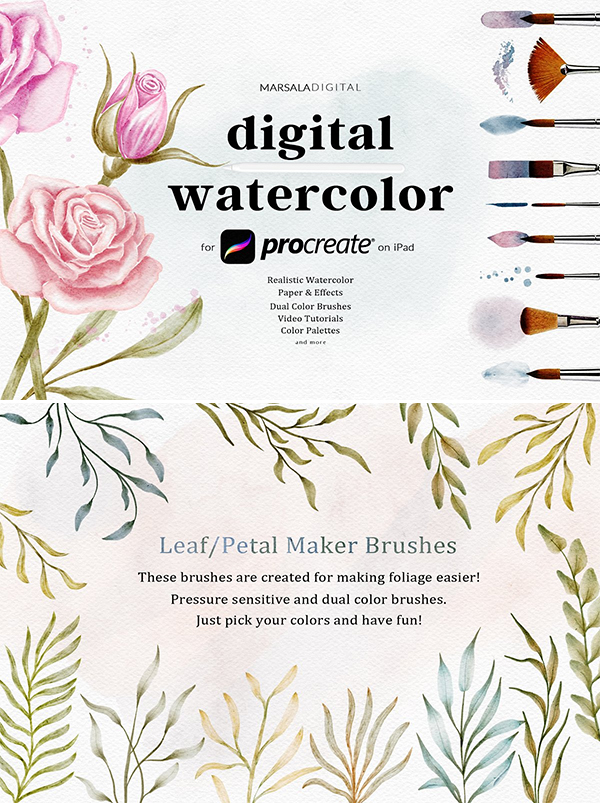 Procreate Watercolor Brushes Kit